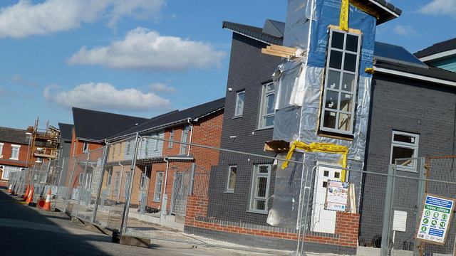 Photo credit: Alex Pepperhill, Greenheys housing development under construction in Moss Side, link, cc